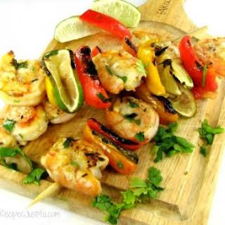 Grilled Cilantro Lime Shrimp Kebabs.