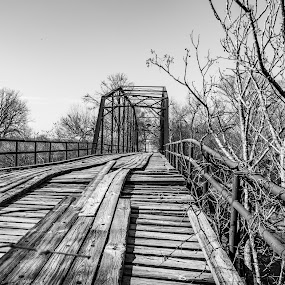 Abandoned  by Andrew Stevenson - Black & White Objects & Still Life ( old, old bridge, bridge, architecture, falling apart )