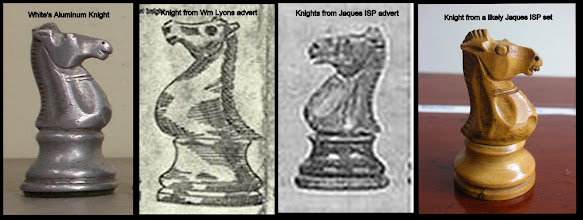 Photo: Close-up of knights from the various sets previously referred to.  The Lyons' set drawing is the least convincing, but, despite, the advert's claim to exactitude, coupled with the match of the other pieces, it does appear to be the same pattern.  It's interesting that the profile of the knights' base is different to that of the other pieces on all these sets.