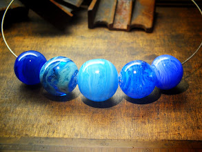 Photo: Hollow blue beads