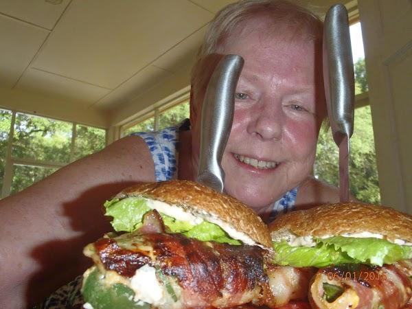 Assemble with bottom bun, burger, onion, tomato, stuffed jalepeno (use 3) lettuce, generous amount...