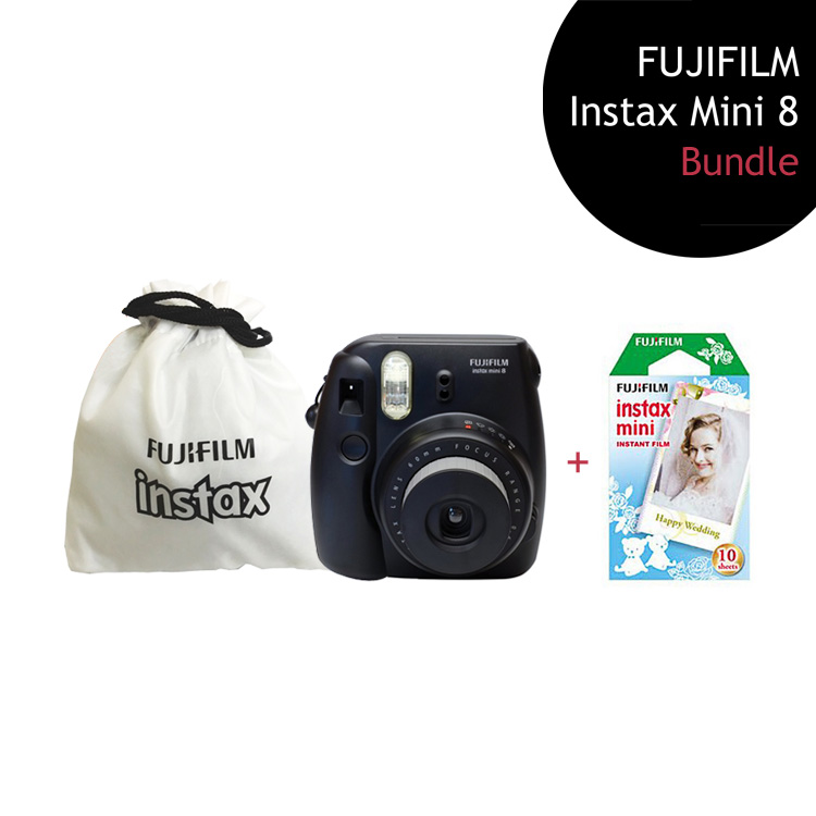 [Bundle] FUJIFILM Instax Mini 8 Camera (Black) + Wedding Film Pack + Instax Pouch by My Pocket Net Sdn Bhd
