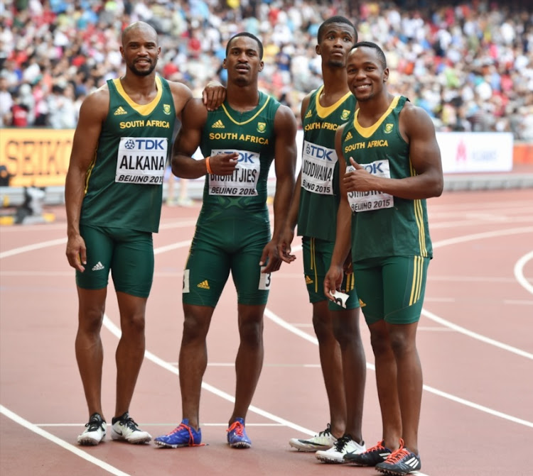 Antonio Alkana, Henricho Bruintjies, Anaso Jobodwana and Akani Simbine of South Africa during day 8 of the 2015 IAAF World Championships at the National Stadium (Bird's Nest) on August 29, 2015 in Beijing, China.