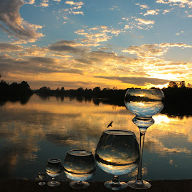 Morning Rise by Stefan Klein - Artistic Objects Glass ( glasses, sunrise, nature, artistic, river,  )