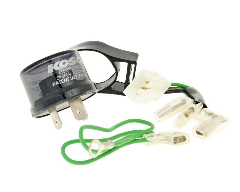 Blinkersrelä LED Koso digital/standard 12V 3-polig med adapter kabel