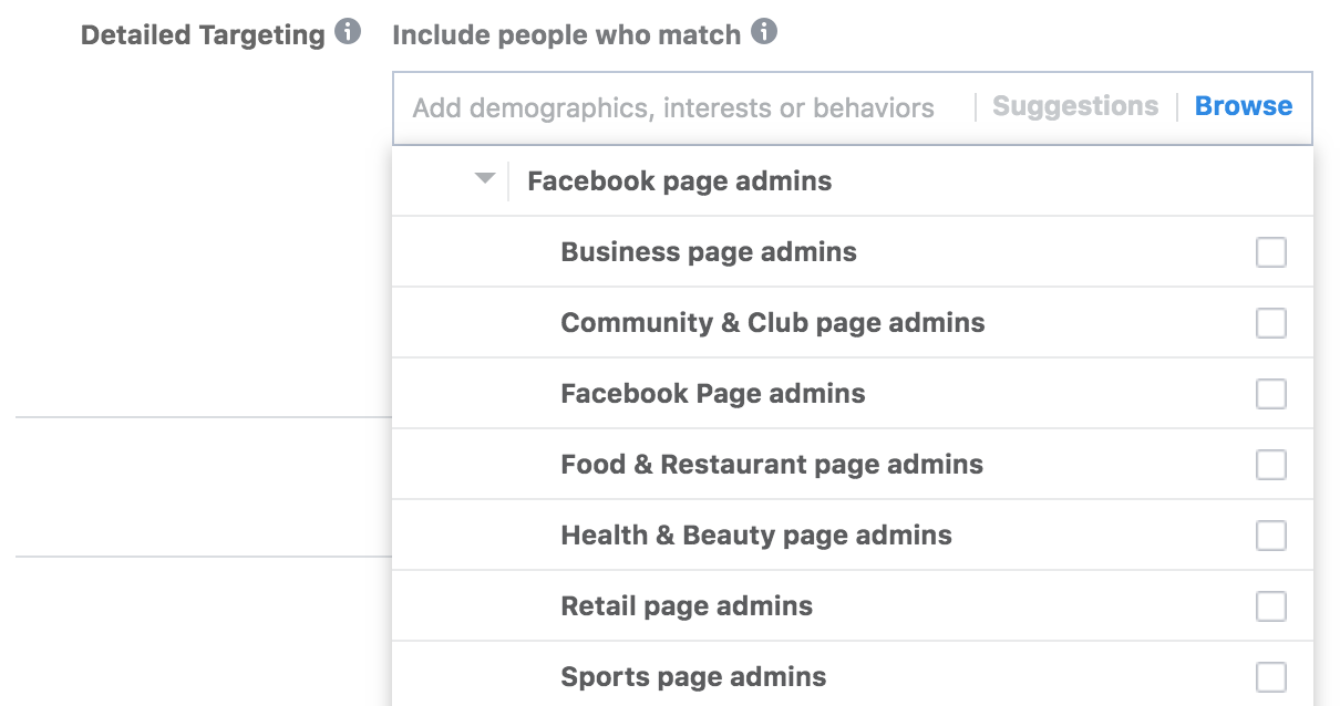 Facebook breaks down Page Admins into different categories in Ads Manager. Facebook在廣告管理員把Page Admin這Targeting Option分成多個種類