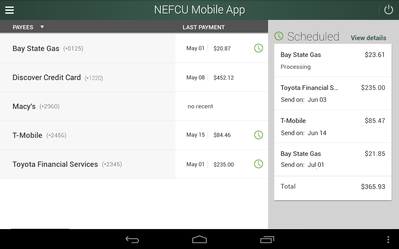 NEFCU Mobile App- screenshot