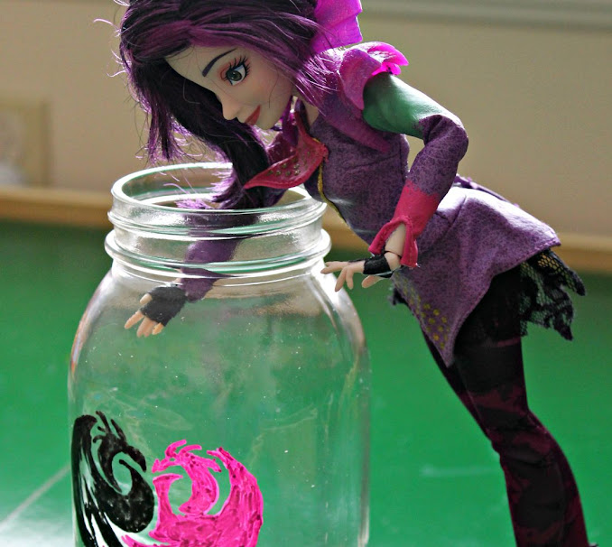 Mal wants her book of spells! Going to have to reach deep into the Descendants painted jar