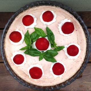 Basil Infused Strawberry Cheesecake