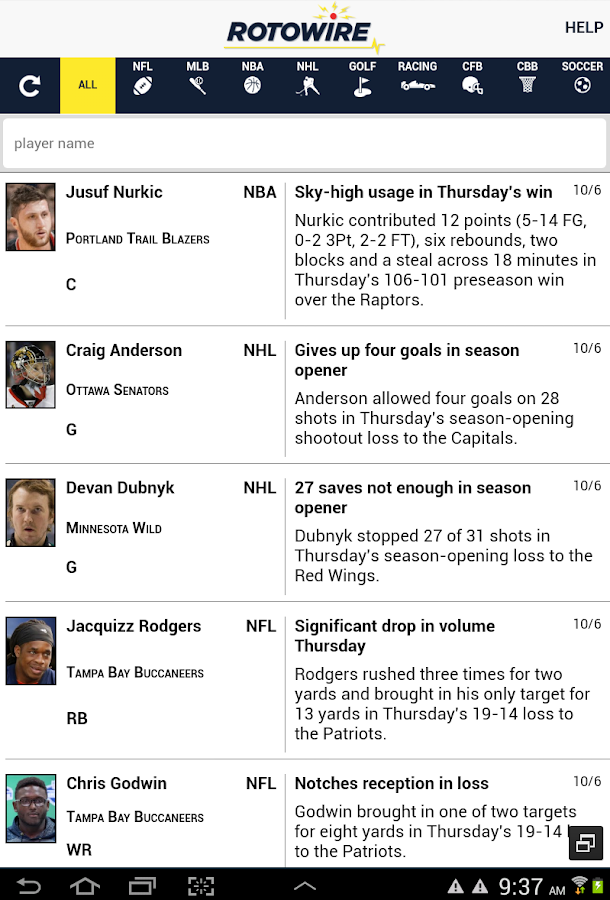 RotoWire News Center- screenshot