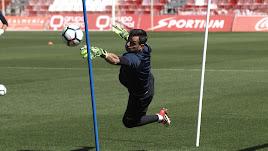 René Román en el entrenamiento de este miércoles.