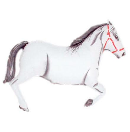 Folieballong Häst, vit.