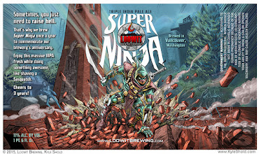 Photo: Label design by Kyle Shold for Loowit Brewing Company's Super Ninja Triple IPA.
