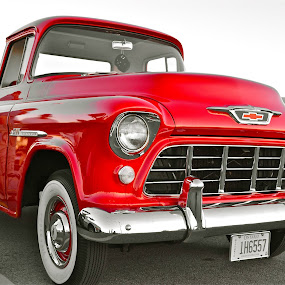 BIG RED by Udo Weber - Transportation Automobiles ( cleen, old, red, truck, auto, crome, chevy, classic, close )