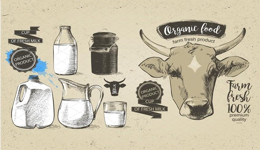 Bộ vector Bò và Sữa vẽ tay bằng AI cực đẹp