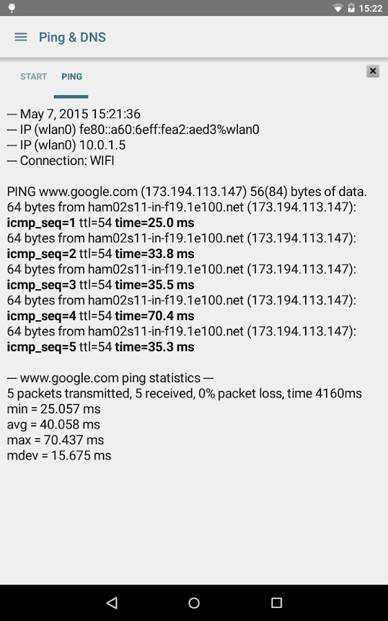 Ping & DNS- screenshot