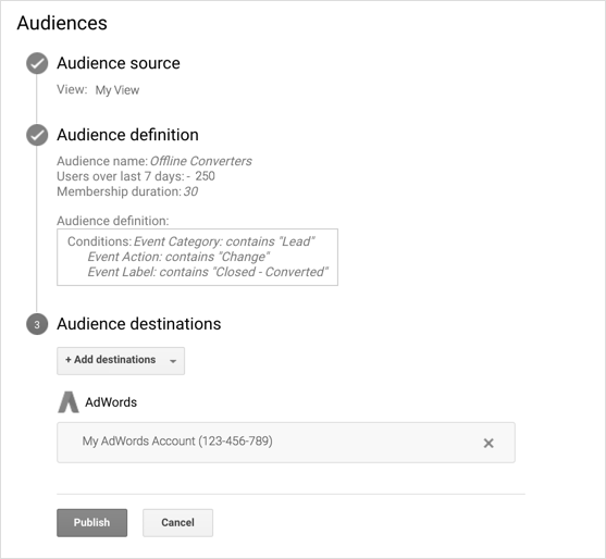 Audiences configuration example