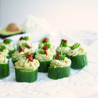 Avocado & Goat Cheese Cucumber Cupcakes.