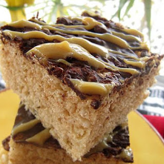 Rice Krispies Treats with Dulce de Leche and Chocolate Drizzle.