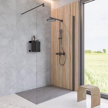Paroi de douche fixe à l'italienne, 90, 100 ou 120 cm, style atelier industriel, profilé noir, profilé à clipser