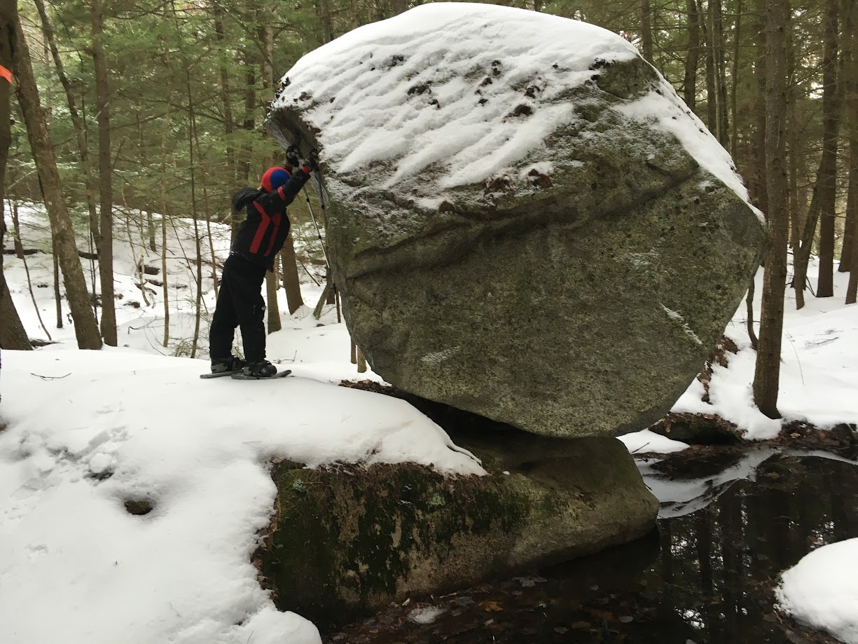 Tipping Rock, Landmark Trails - Out snowshoeing and stopping by to see the famous Tipping Rock. Photo submitted by Jerry Halstead.