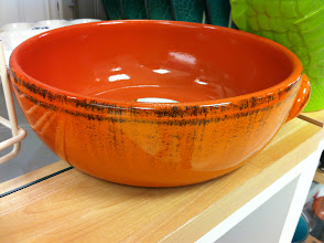 Photo: I can picture a delicious bacon cheese dip in this orange ceramic bowl. Do you want to come & join us?
