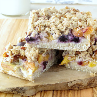 Quinoa, Oat and Pecan Blueberry-Peach Crumb Bars.