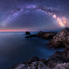 Milky Way over the sea by Evgeni Ivanov - Landscapes Starscapes ( lights, sky, night photography, stars, sea, night, long exposure, seascape, coastline, coast, bulgaria, nightscape, milky way,  )