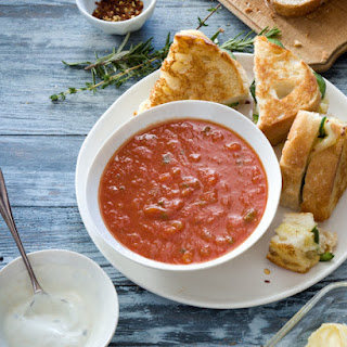 Zesty Tomato Soup With Herb Cream And Deluxe Grilled Cheese