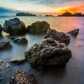 Pointing The way  by Najmi Rooslan - Landscapes Sunsets & Sunrises ( gnd, ray, blue hour, single exposure, sea, malaysia, landscape, soft, beaches, 0.3, lee, uwa, malacca, sunset, melaka )