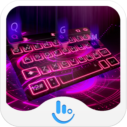 Pink Neon Hologram Keyboard Theme For TouchPal