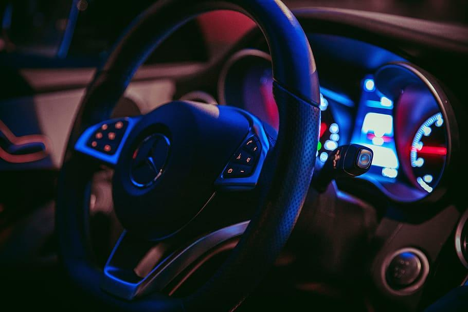 mercedes car wheel, various, car, cars, night, close-up, focus on foreground, car interior, transportation, vehicle interior