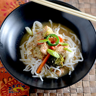 Asian Salmon with Rice Noodles.