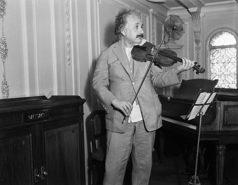Professor Albert Einstein playing his violin in 1932.