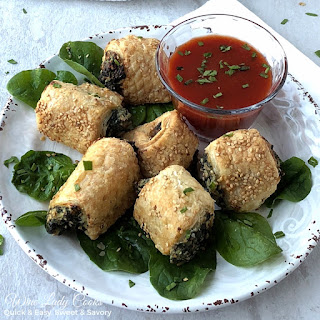 Air Fryer Spinach and Cheese Roll Up Appetizer.