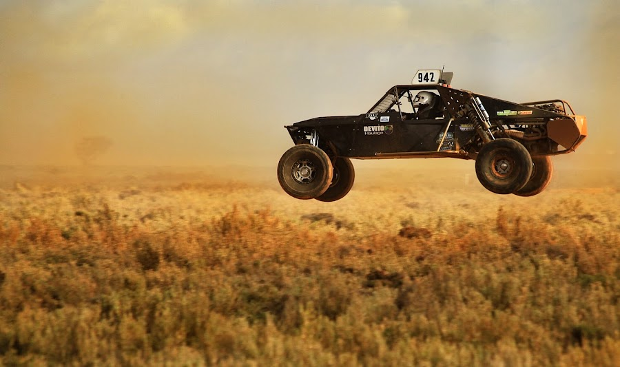 Airborne  by Deb Thomas - Sports & Fitness Motorsports ( australia red dust, buggy racing )
