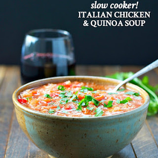 Slow Cooker Italian Chicken and Quinoa Soup.
