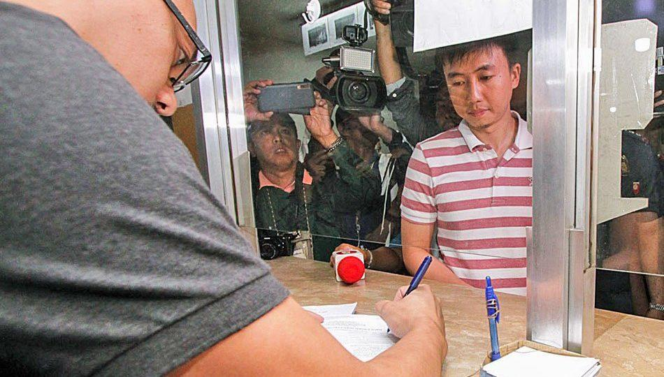 The late cadet's brother, Dexter Dormitorio files charges in Baguio. <I>Photo: ABS-CBN News</I>
