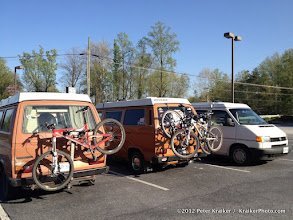 Photo: Three campers and five bikes