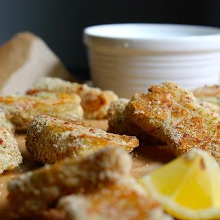 Garlic & Herb Parmesan Fish Sticks with Greek Yogurt Tartar Sauce