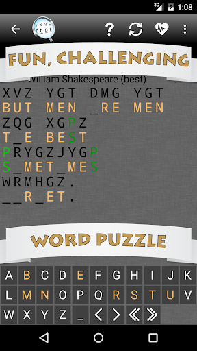 Cryptogram Word Puzzle