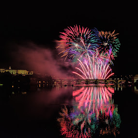Fireworks on St Charles Bridge by Randi Hodson - City,  Street & Park  Night ( city, night, bridge, fireworks, colors,  )