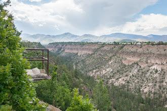 Photo: Looking west along Pueblo Canyon toward the Jemez Mtns.