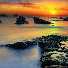 Sunset at Mengening by Padeka Bkenz - Landscapes Waterscapes