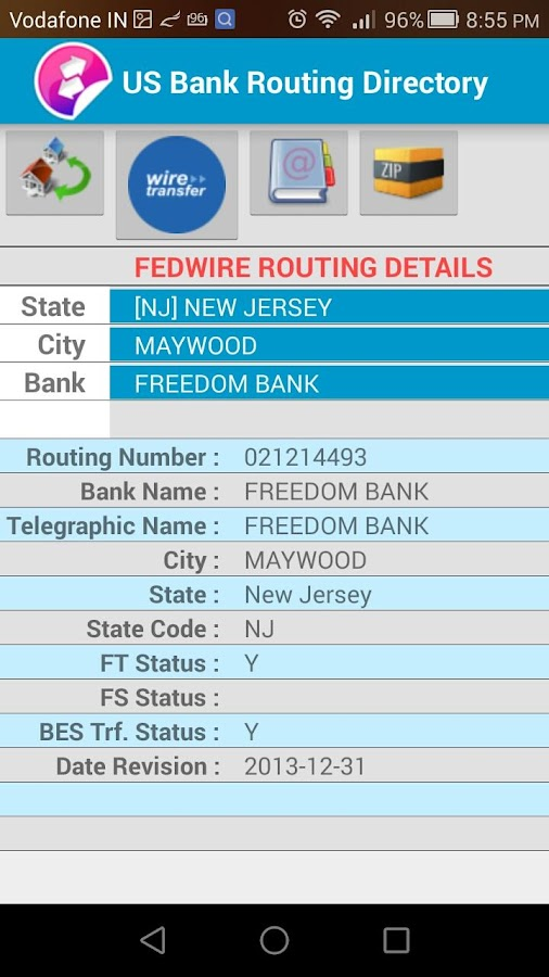 fed routing number directory