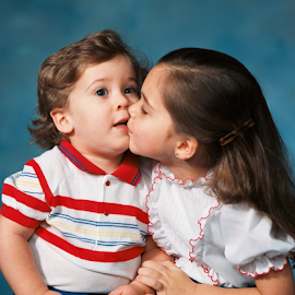 First Kiss by Paul S. DeGarmo - Babies & Children Children Candids ( candid, children, delightful, kiss, first,  )