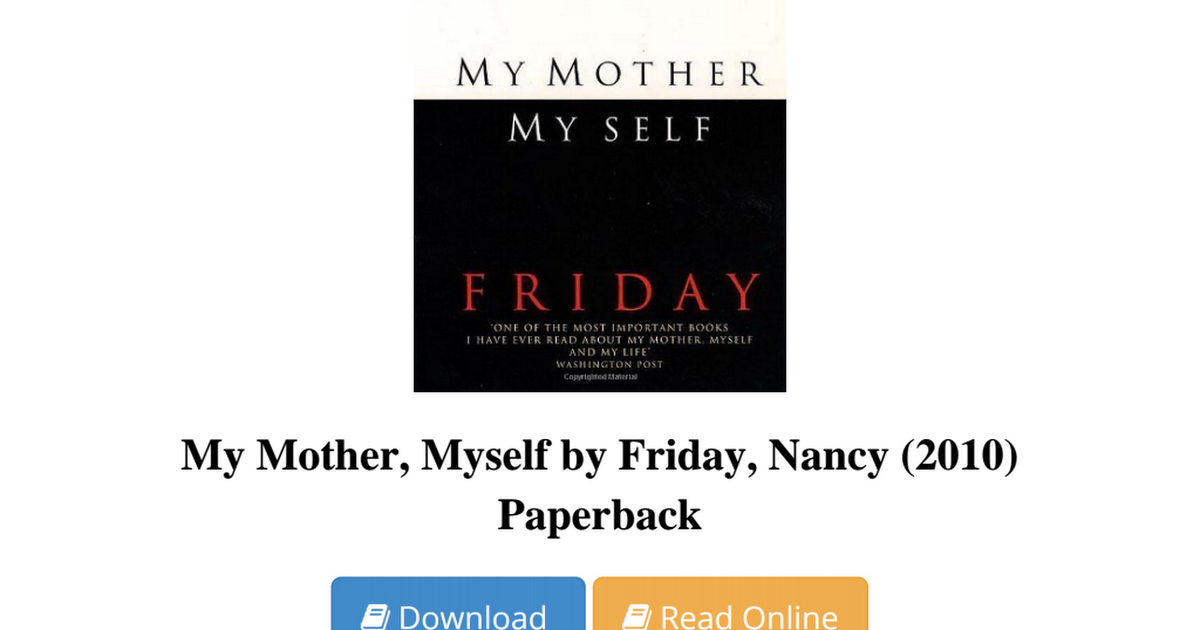 my mother myself book