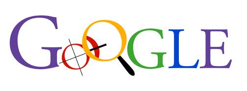 Vroeg in hoofdletters geschreven Google-logo-iteratie met effen kleuren waarbij de eerste O een kompas is en de tweede O een vergrootglas.