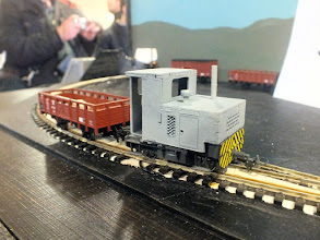 Photo: 023 The stock roster of Mike Johnson's Coppice Lane Siding is as individual as the 12mm gauge inset trackwork. This freelance S scale loco is built onto a Bemo chassis – none of your everyday Kato's on here! .