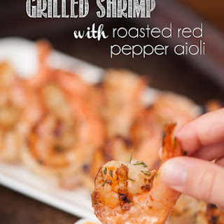 Grilled Shrimp with Roasted Red Pepper Aioli